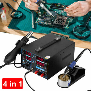 4in1 Digital Electronic Hot Air Gun Smd Rework Soldering Station 4 Nozzles