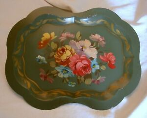 Vintage Green Scalloped Edge Tole Tray Hand Painted Roses
