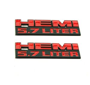 2x Oem Origianl 5 7 Liter Hemi Emblem Badge For Chrysler Charger Black Red T1