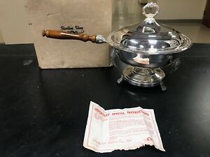 Vintage 5 Piece Silver Plated Sheridan Chafing Dish Holder With Wooden Handle