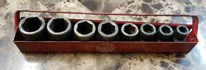 Vintage Mac Tools 8 Piece 1 2 Drive Shallow Impact Socket Set W Tray 3 8 7 8