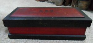 Antique Primitive Small Red Black Painted Wood Chest Initialed G C S