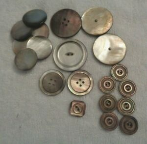 Lot Buttons Antique Vintage Victorian Mother Pearl Large Black Grey Small Sets