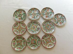 Lot Of 10 Antique Chinese Export Guangcai Plates Saucers 5 1 2