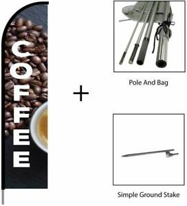 Coffee Cafe Bar Sign Banner Swooper Feather Flag Pole Kit Advertising Sign 15ft