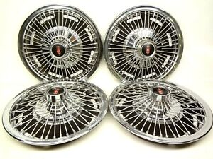 Oldsmobile 1960 s Set 4 Wire Wheel Style 14 Hubcaps Wheel Covers Cutlass 442