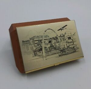 Monsanto St Louis Business Card Holder Case Brass Wood Stl Motif Rare Vintage