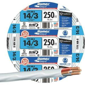 Southwire 14 3 Romex 14 3 250 Ft Non Metallic Wire Simpull Roll Residential Wire