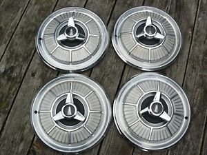 Set Of Four 1965 66 Plymouth Barracuda 14 Spinner Style Hub Caps