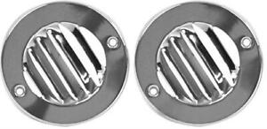 1961 66 Ford Pickup Truck Defrost Round Louver Vent Set 2 Pieces Chrome