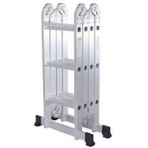 12 step Joints Aluminum Folding Ladder Scaffold Extendable Heavy Duty Platform