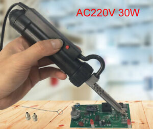 220v 30w Desoldering Pump Continuous Suction Automatic Electric Vacuum 2 Tips