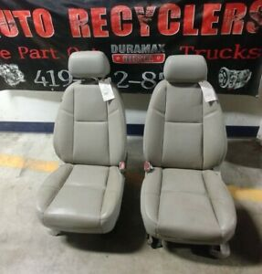 2011 2014 Gray Leather Power Front Seats Chevy Silverado Gmc Sierra 2500 3500 Hd