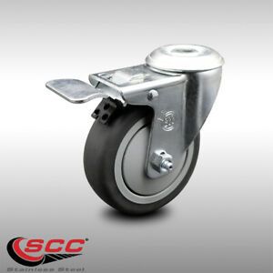 Ss Thermoplastic Rubber Swivel Top Plate Caster 4 Wheel Total Lock Brake