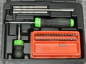 Snap On Tools Ratcheting Screwdriver Set Sgdmrc108ag Green Case Nice