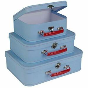 Paperboard Suitcases set Of 3 Retro Light Blue Boxes Birthday Parties Wedding