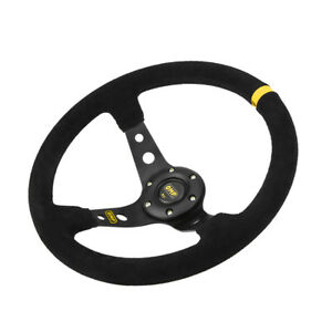 Auto Deep Dish 6 Bolt Jdm Sport Racing Car Steering Wheel Suede Horn Button Ad