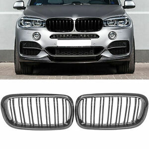 Look Carbon Fiber Front Bumper Kidney Grille Grill For Bmw F15 X5 X6 2014 2018