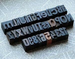 A z 0 9 Alphabet Numbers Letterpress Wood Printing Blocks Wooden Type Woodtype