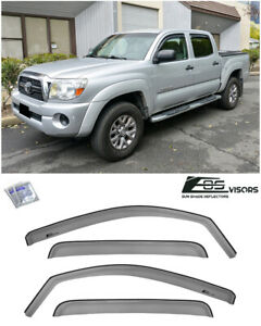 For 05 15 Toyota Tacoma Crew Cab In Channel Smoke Tinted Side Rain Deflectors