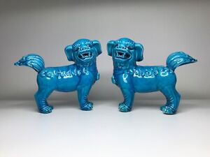 Awesome Turquoise Foo Dogs Shishi Lions In Bedazzling Blue