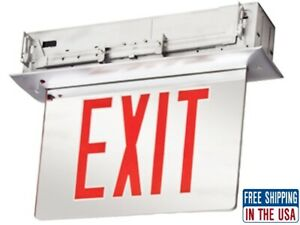 Lithonia Edgr 2 Rmr M4 Led Edge lit Exit Sign Mirror Double Face Red New Free S