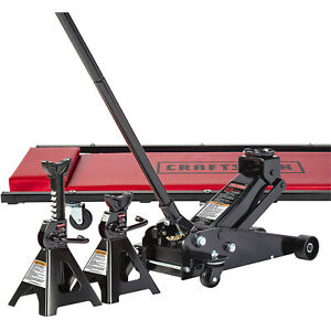 Craftsman 3 Ton Steel Floor Jack W Creeper And Jack Stands Set