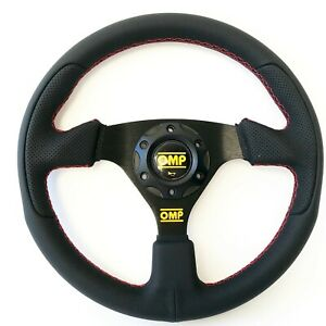 330mm Leather Flat Steering Wheel For Omp Hub Momo Racing Drifting Red Sttich Rr