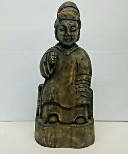 Old Southeast Asian Carved Wood Temple Figurine Statue 9 1 2