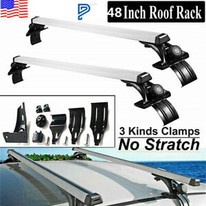 48 Universal 3 Kinds Clamp Car Top Roof Cross Bar Luggage Cargo Carrier Rack W