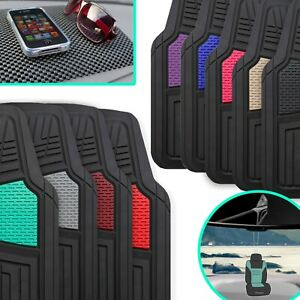 Heavy Duty Tall Channel Rubber Floor Mats W Air Freshener And Black Dash Mat