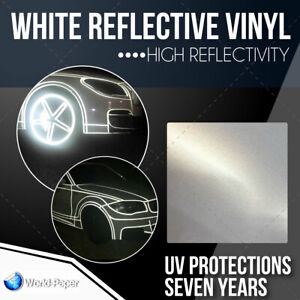 White Reflective Vinyl Adhesive Cutter Sign Hight Reflectivity 24 X 10 Ft