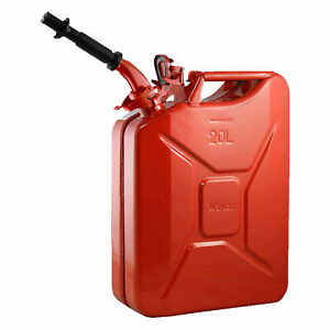 Wavian 3009 Steel Gas Nato Jerry Can W spout 5 28 Gal 20 Liter Red
