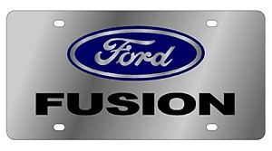 New Ford Fusion Blue Logo Stainless Steel License Plate