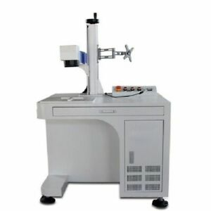 50w Desktop Fiber Laser Marking Engraver Engraving Machine With Rotary Axis