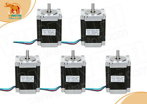 Wantai 5pcs Stepper Motor Nema23 57bygh627 270oz in 3a 4wires Single Shaft Cnc