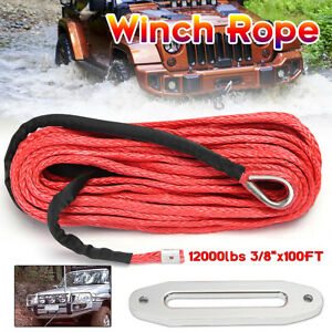 12mm X 30m Synthetic Rope Winch Recovery Cable Anchor Car Tow Hawse Fairlead