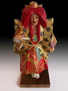 Kurama Tengu Sojobo Polychrome Gold Leaf Showa Carved Wood Sculpture Signed