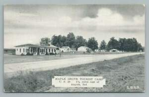 Maple Grove Tourist Camp ANGOLA Indiana~Route 20 Vintage PC Coca Cola 1940s