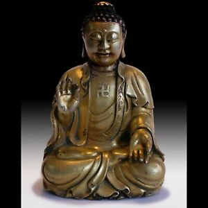 Shakyamuni Buddha Teaching Charity Antique Chinese Gold Gilded Bronze Statue