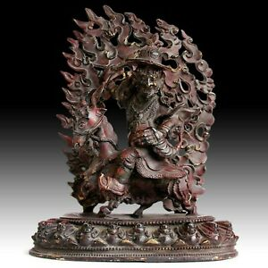 Garwa Nagpo Guardian On Goat Antique Tibetan Bronze Buddha Shrine Statue