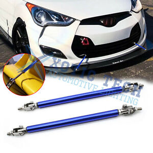 Adjustable Blue Front Bumper Lip Splitter Strut Rod Tie Support Bars For Hyundai