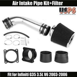 Black For 2003 2004 2005 2006 Infiniti G35 3 5l V6 Air Intake System Kit Filter