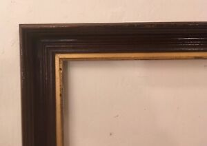 Large Antique Vintage Walnut Wood Frame With Gold Gilt Matt 30x22 Opening