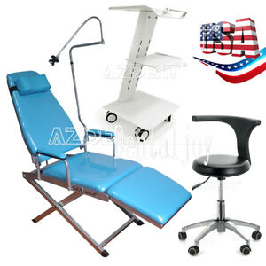 Dental Portable Folding Chair Led Light 360 rotation Mobile Chair cart Trolley