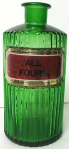 Antique Apothecary Chemist Green Ribbed Glass Bottle Jar No Stopper All Fours