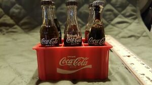 Set of 6 Miniature 3' Glass Coca Cola Soda Pop Bottles in Red Plastic Crate Case