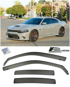 For 11 Up Dodge Charger In Channel Smoke Tinted Side Window Visors Rain Guards