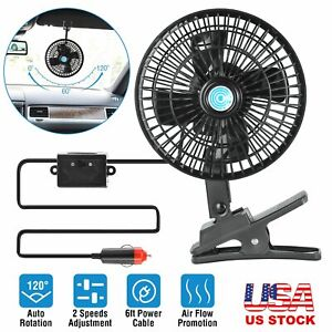 12v Car Oscillating Fan Clip On Dashboard Van Cooling Air Cooler For Car Truck