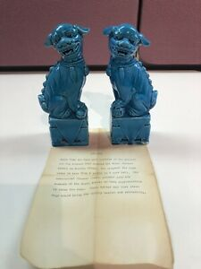 Vintage Chinese Turquoise Blue Porcelain Foo Dog Figurines One Pair